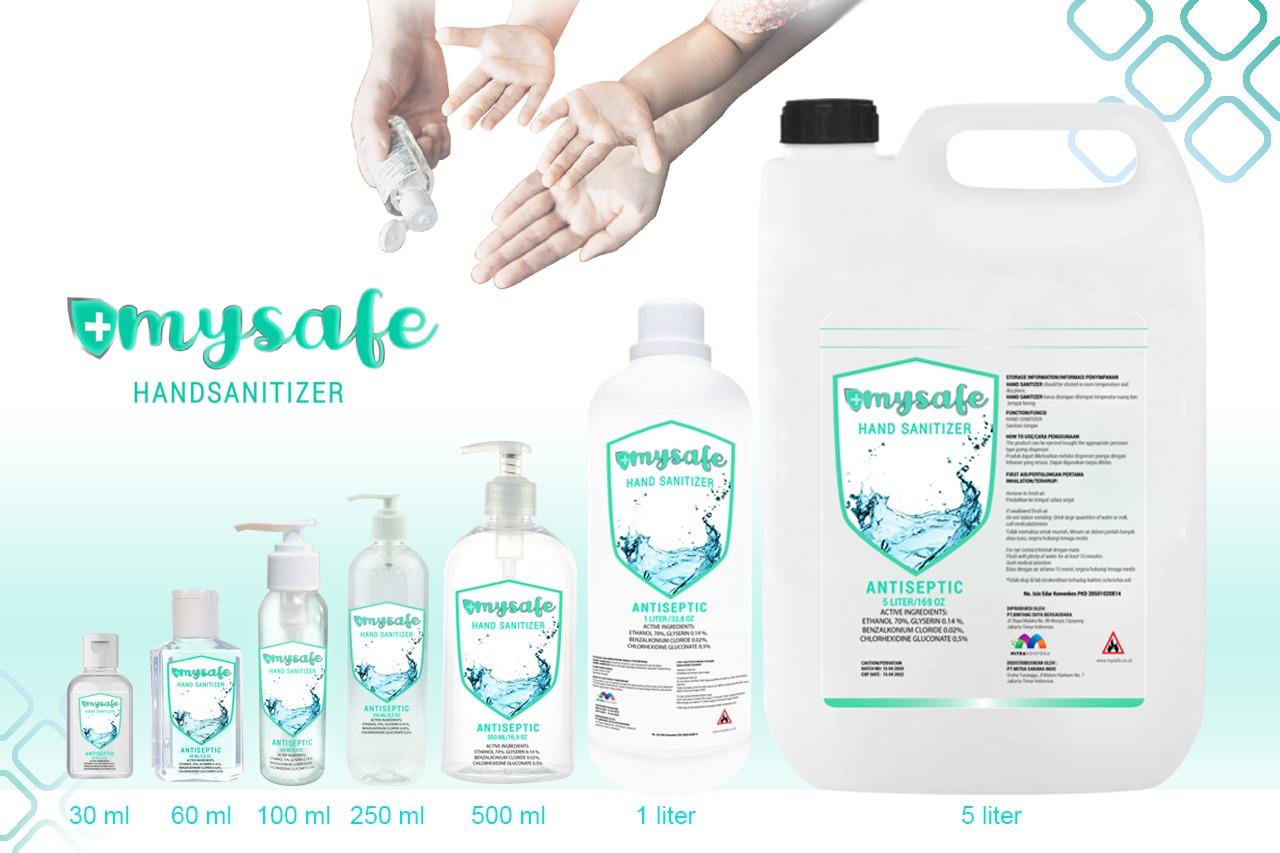 mysafe hand sanitizer, mysafe, mysafe indonesia, produk alat kesehatan, produk alat kesehatan di jakarta, mitra sarana indo, mitra korpora